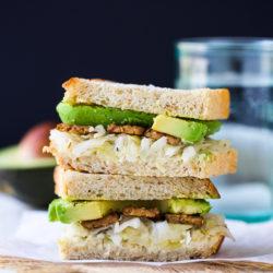 Tempeh, Avocado and Sauerkraut Sandwich