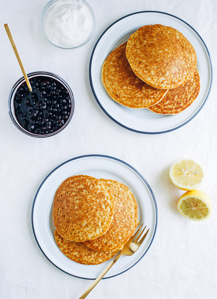 Hoecakes with Blueberry Lemon Compote- light and fluffy cornmeal pancakes that are vegan and gluten-free! Perfect for brunch or a weekend breakfast. | Making Thyme for Health