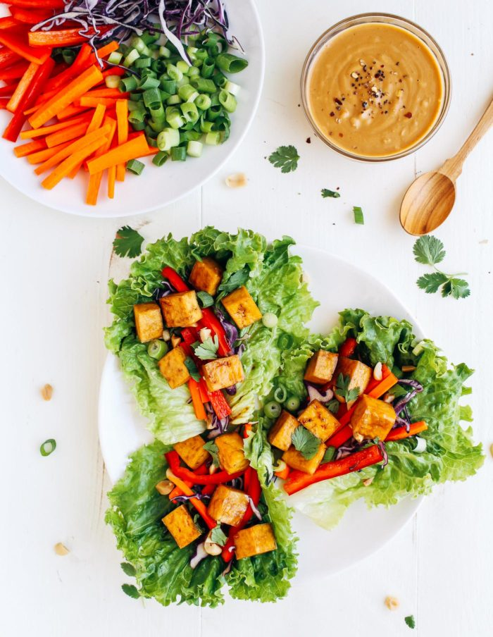 Baked Thai Tofu Lettuce Wraps- served with an amazing peanut-ginger-lime sauce. Only takes 35 minutes to make! (vegan, gluten-free, grain-free)