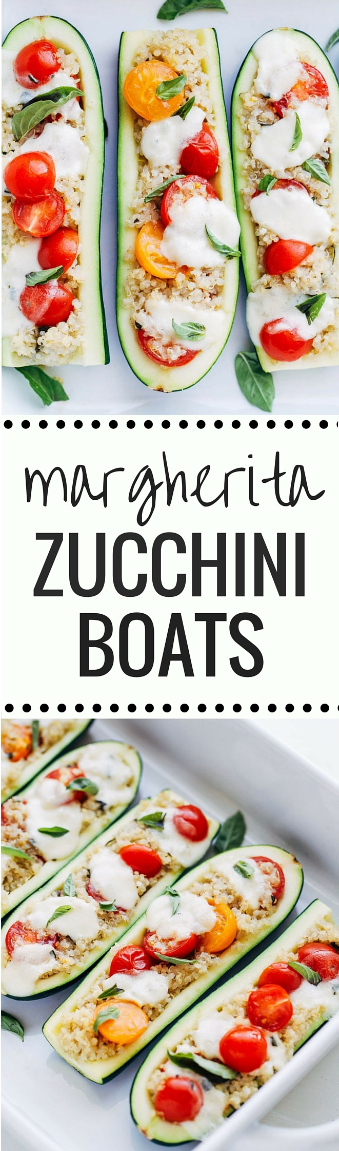 Margherita Zucchini Boats- a light and healthy take on the delicious Margherita Pizza. One serving has just 260 calories + 16 grams of protein! (gluten-free + vegetarian with vegan option)