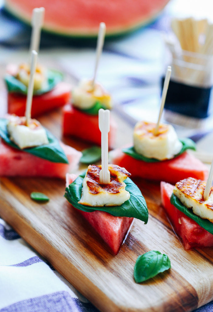 Watermelon Basil Halloumi Bites- juicy sweet watermelon with salty cheese and fresh basil. The perfect summer appetizer!