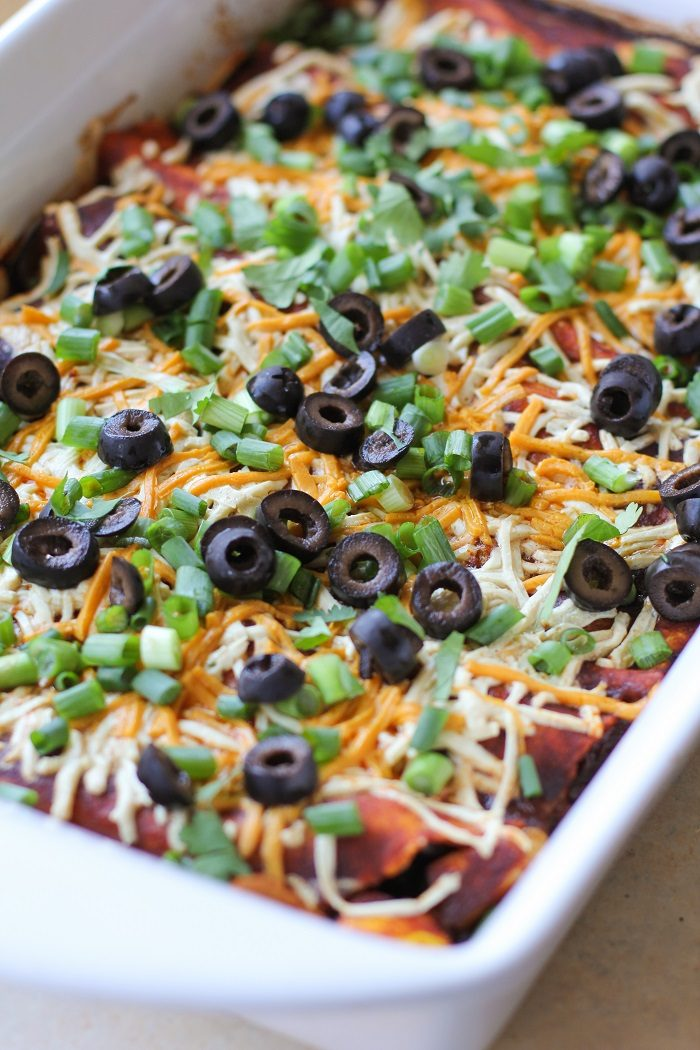 Mushroom Zucchini and Black Bean Vegetarian Enchiladas from The Roasted Root