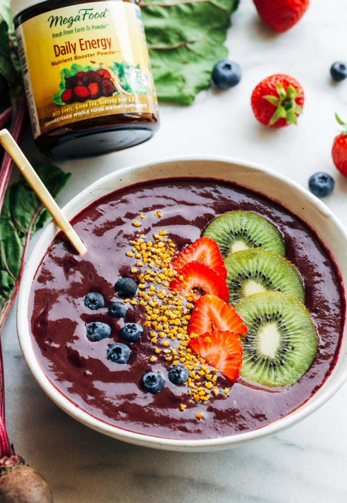 Berry Beet Energizing Smoothie Bowl- supercharge your day with an antioxidant-packed smoothie bowl featuring raw beets, blueberries, and spinach. Each bowl offers a significant source of vitamins, fiber, iron and calcium!