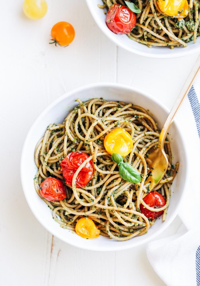 Kale Pesto Pasta with Cherry Burst Tomatoes | Making Thyme for Health