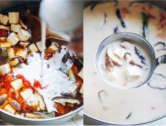 Vegan Tom Kaa Gai- a delicious Thai coconut milk soup that only takes 30 minutes to make!