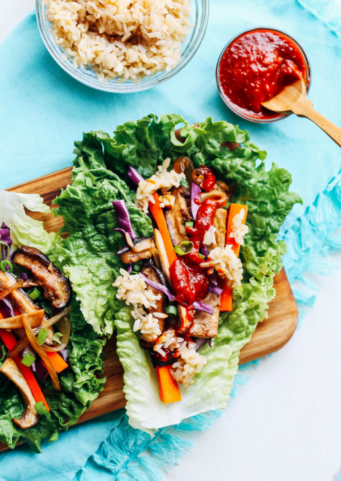 Vegan Bulgogi Lettuce Wraps- a vegan version of traditional Korean BBQ that will make you forget all about the beef!