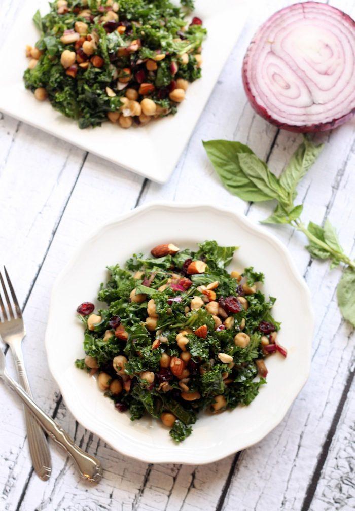 Basil Balsamic Chickpea Kale Salad | Hummusapien