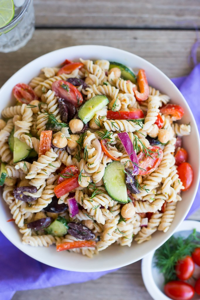 Creamy Tahini Greek Pasta Salad from She Likes Food