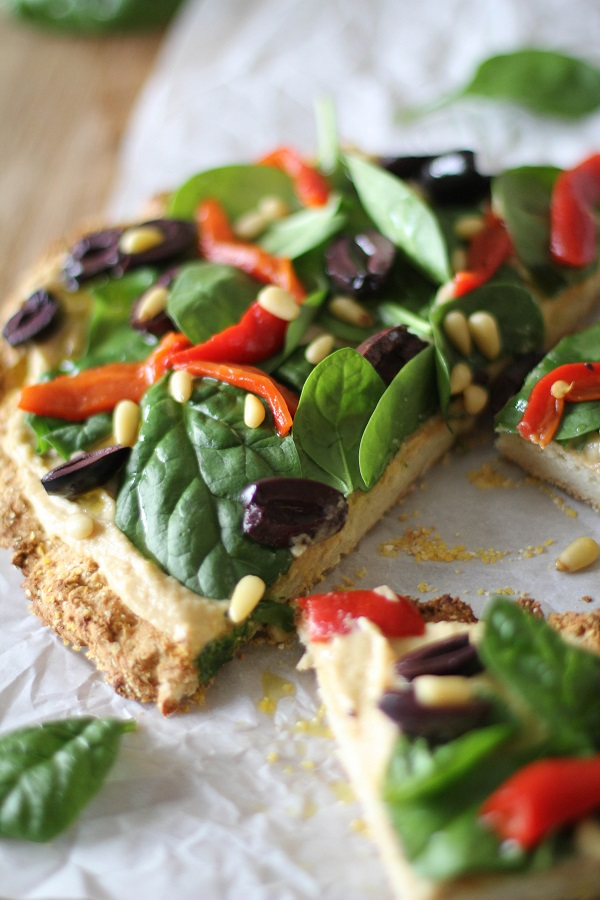 Greek Hummus Pizza from The Roasted Root