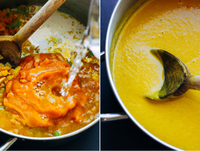 Easy Curried Pumpkin Soup- a simple fall-inspired soup that requires less than 10 ingredients and 30 minutes to make! (vegan + gluten-free)