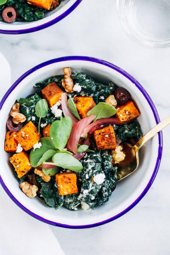 Sweet Potato Souvlaki Bowls from Making Thyme for Health