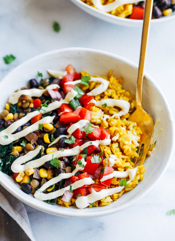 Turmeric Rice Burrito Bowls- sounds like a strange combo but it is SO good! (dairy-free & gluten-free)