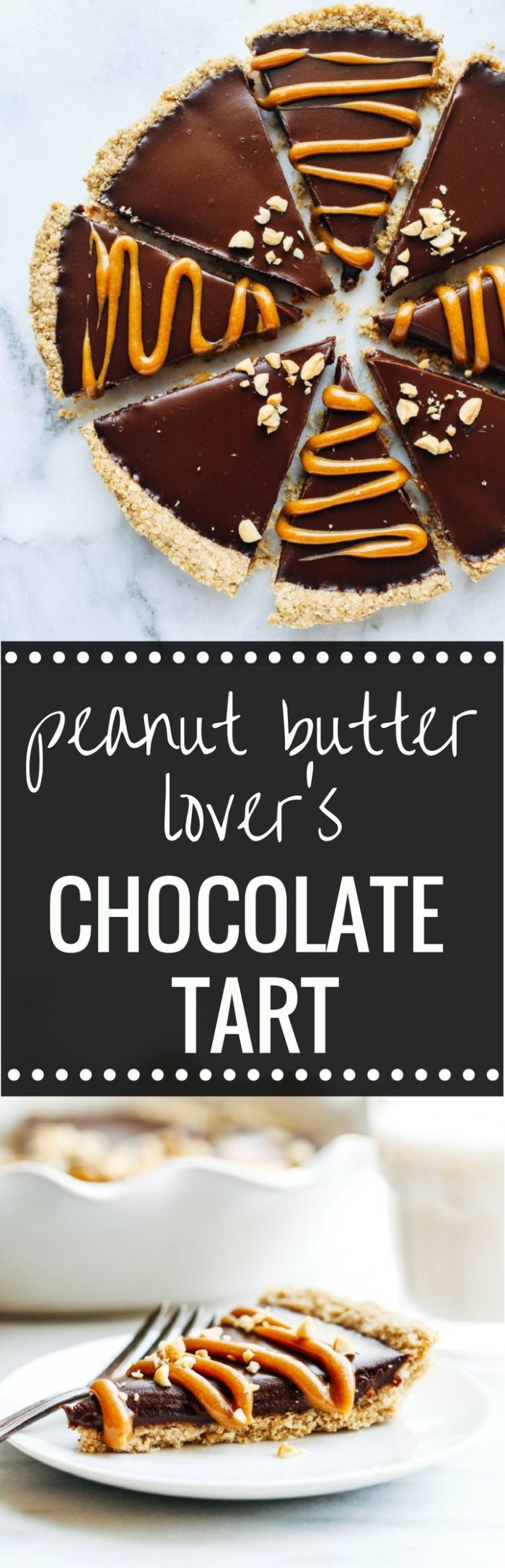 Peanut Butter Lover's Chocolate Tart- a silky chocolate peanut butter dessert that everyone will love! Made without dairy, gluten, soy, or refined sugar