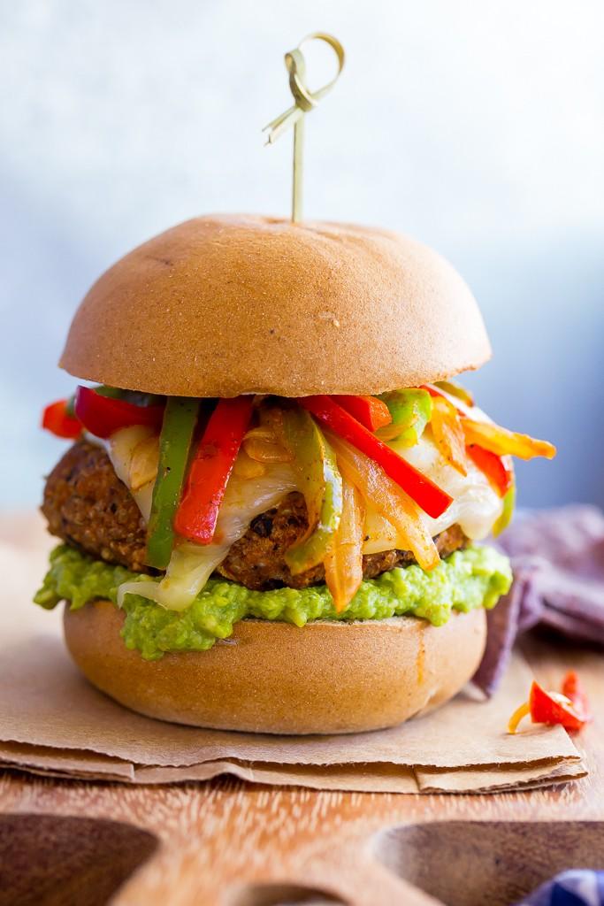 Black Bean Veggie Fajita Burgers from She Likes Food