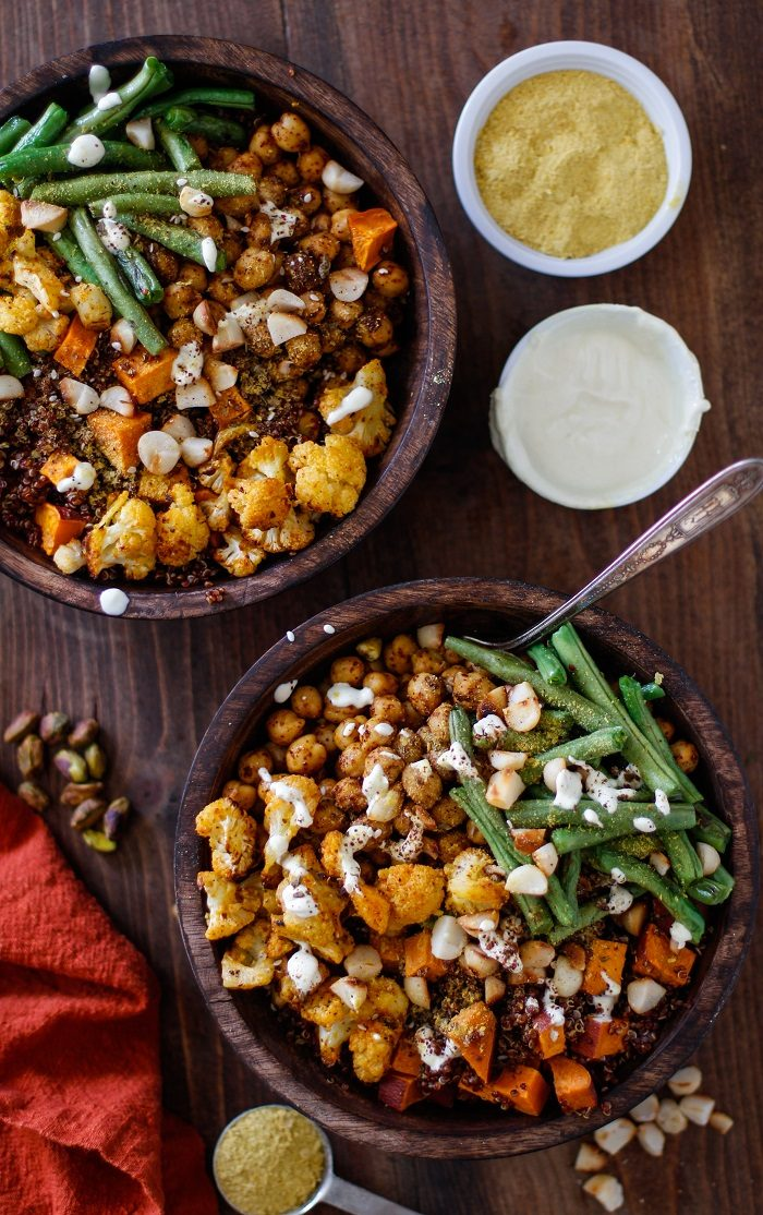 Roasted Vegetable Red Quinoa Buddha Bowls from The Roasted Root