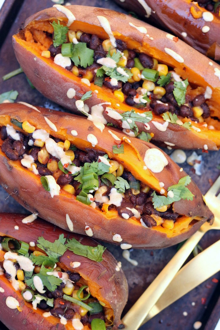 "Slow Cooker ""Loaded"" Baked Sweet Potatoes from Hummusapien"