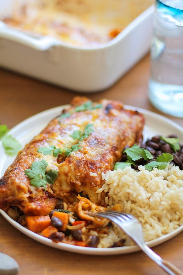 Small Batch Sweet Potato and Black Bean Enchiladasfrom The Roasted Root