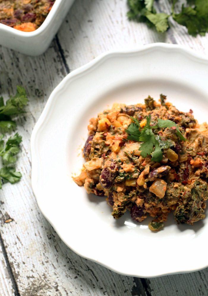 Vegan Tempeh Kale Enchilada Casserole from Hummusapien
