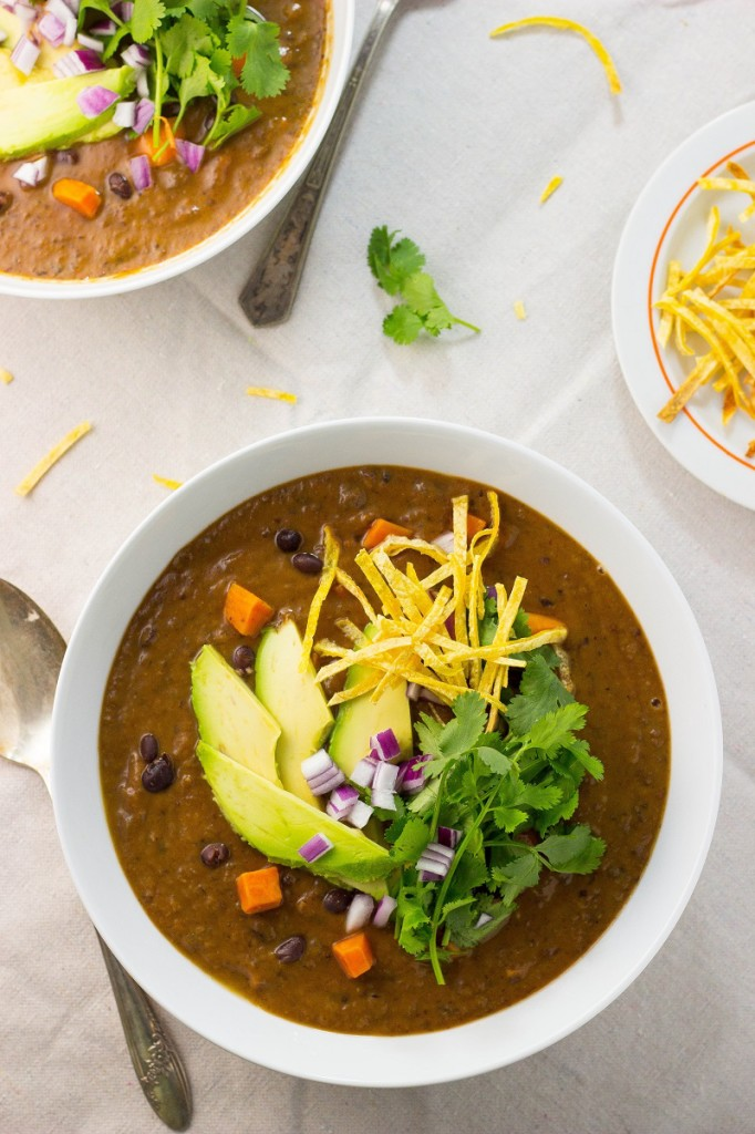 Smoky Black Bean and Sweet Potato Soup from She Likes Food