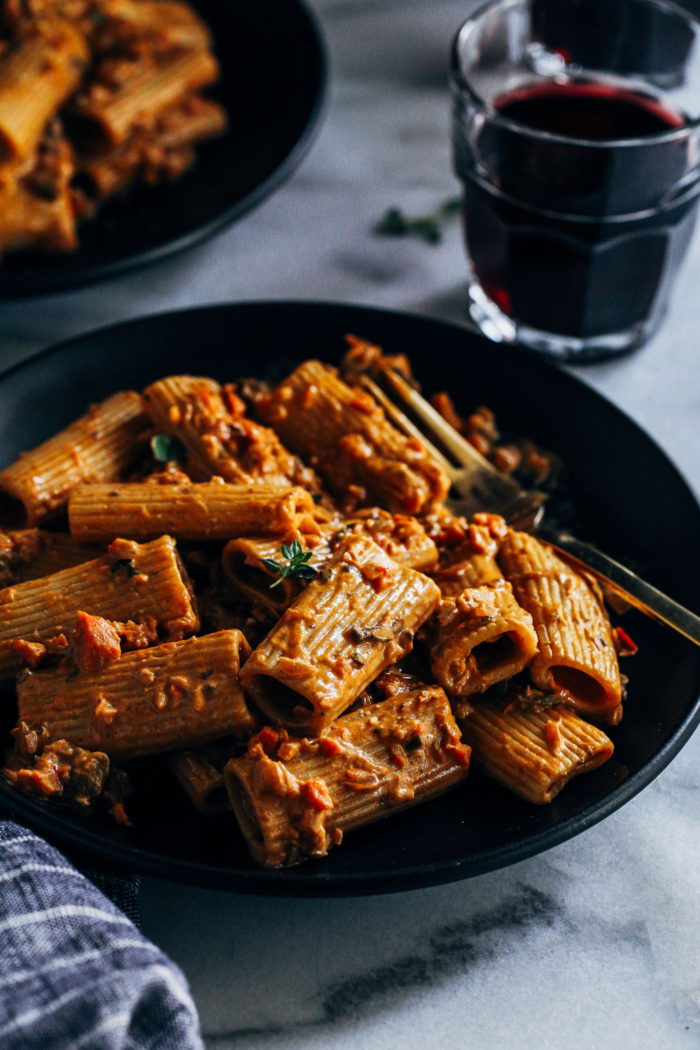 The Best Vegetable Bolognese- a plant-based take on classic bolognese that's bursting with umami flavor. Perfect for special occasions and holidays!