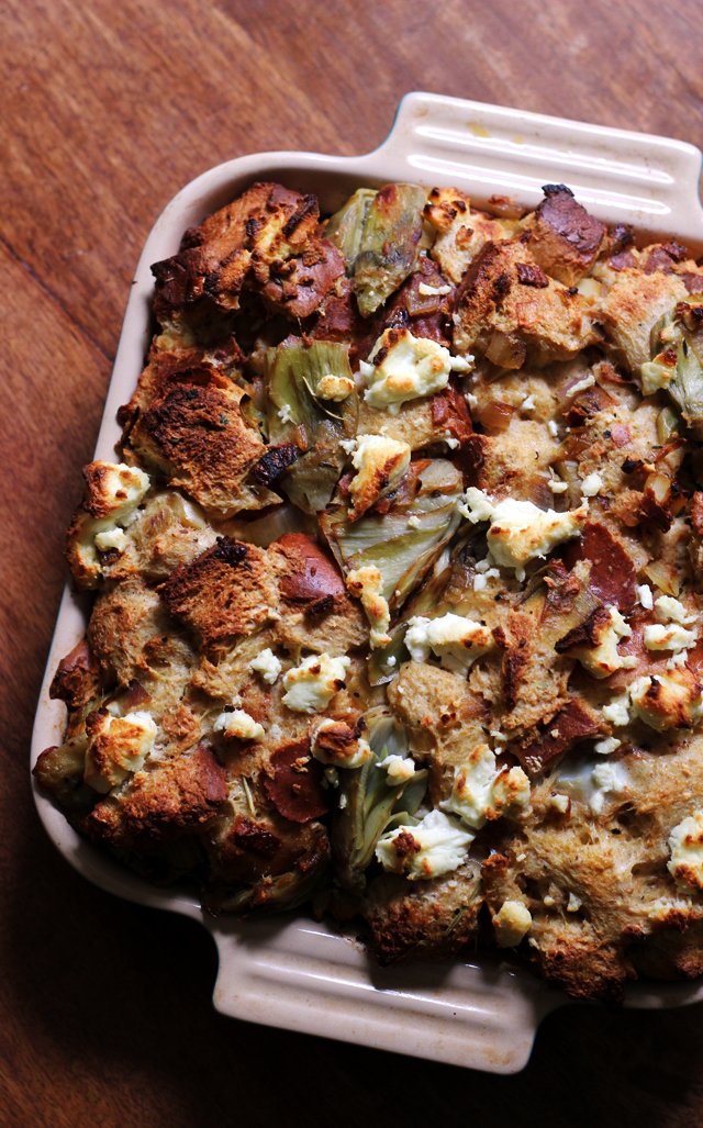 Artichoke and Goat Cheese Strata from Eats Well With Others