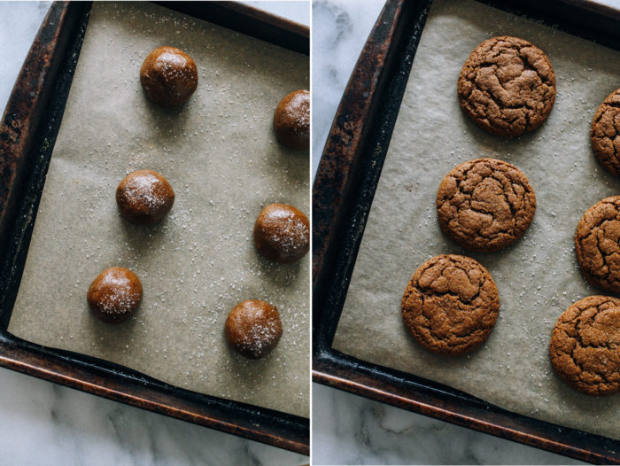 Chewy Ginger Molasses Cookies- soft and chewy molasses cookies spiced with hints of ground cinnamon and ginger. So perfect that no one will tell that they're vegan, gluten-free and refined sugar-free!