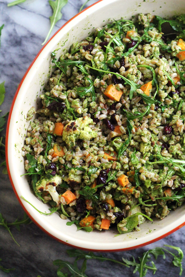 Warm Farro Bowl with Roasted Vegetables and Kale Pesto from Eats Well With Others