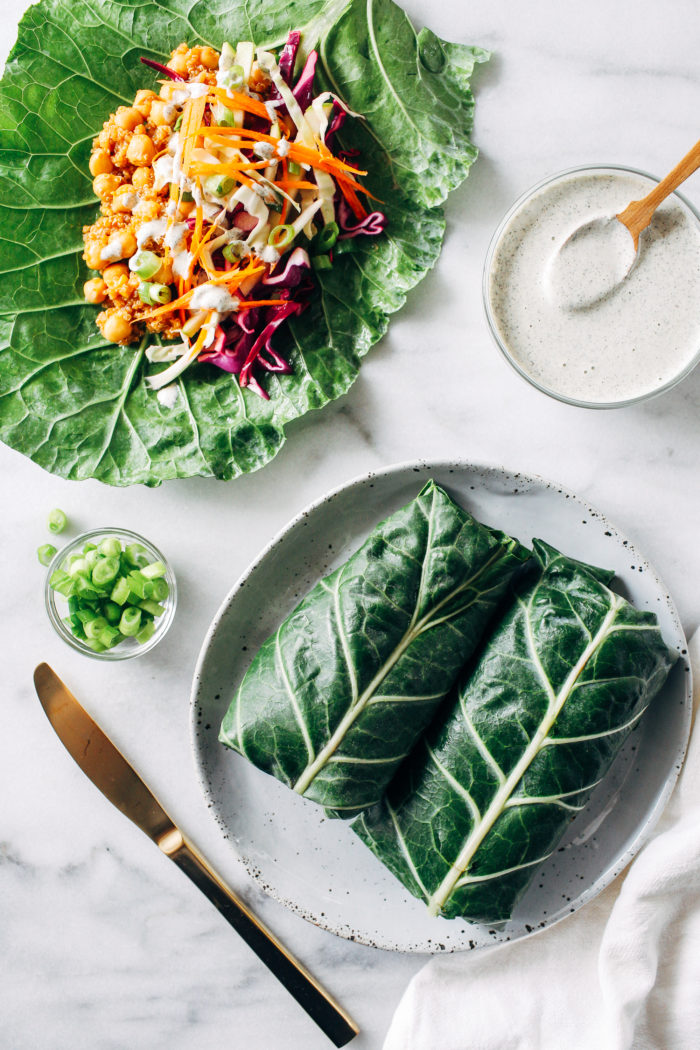 Barbecue Chickpea Collard Wraps with Hemp Ranch Dressing- packed with protein and fiber, these veggie-filled collard wraps make the perfect healthy lunch! (vegan, gluten-free, grain-free)