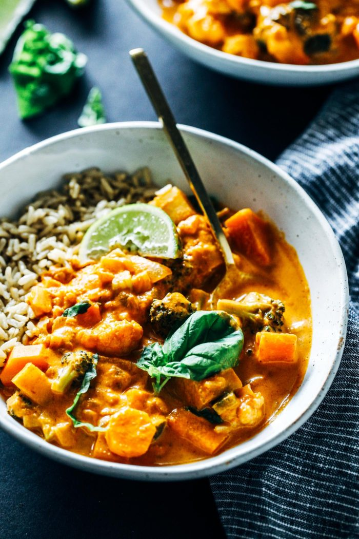 One-Pot Vegetable Thai Red Curry- a flavorful and satisfying Thai curry that takes just 30 minutes to make! Vegan and gluten-free.