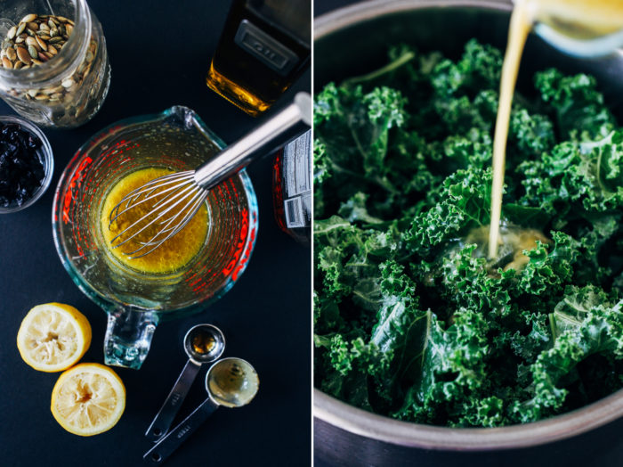 Winter Kale Salad with Lemon Dijon Dressing- perfect to prep for healthy lunches or serve to guests! (vegan, gluten-free, grain-free)