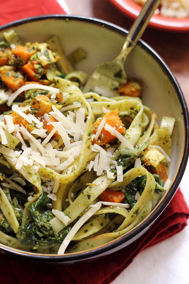 Fettuccine with Swiss Chard Pistachio Pesto and Butternut Squash from Eats Well With Others