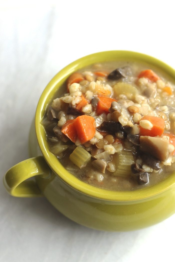 Crockpot Mushroom, Barley, and Lentil Soup from Hummusapien