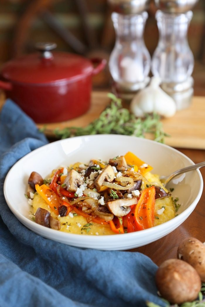 Creamy Polenta with Caramelized Onions, Peppers, and Mushrooms from The Roasted Root