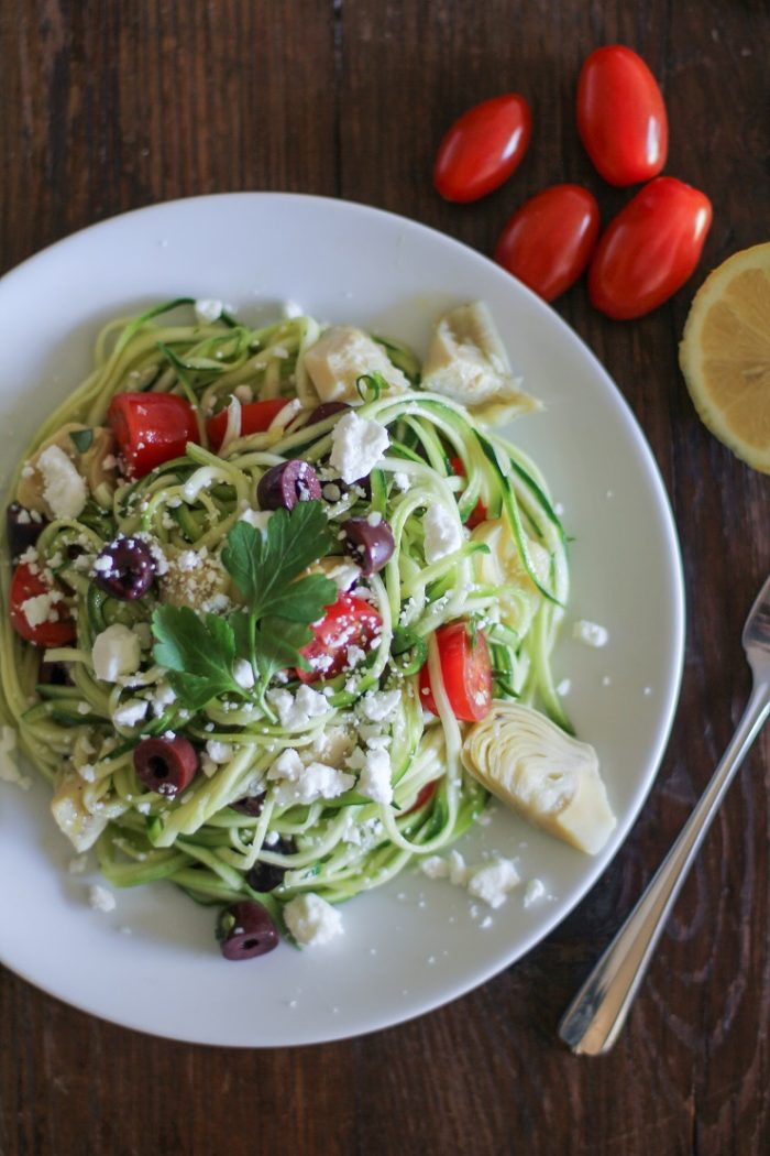 Mediterranean Zucchini Noodle Pasta from The Roasted Root