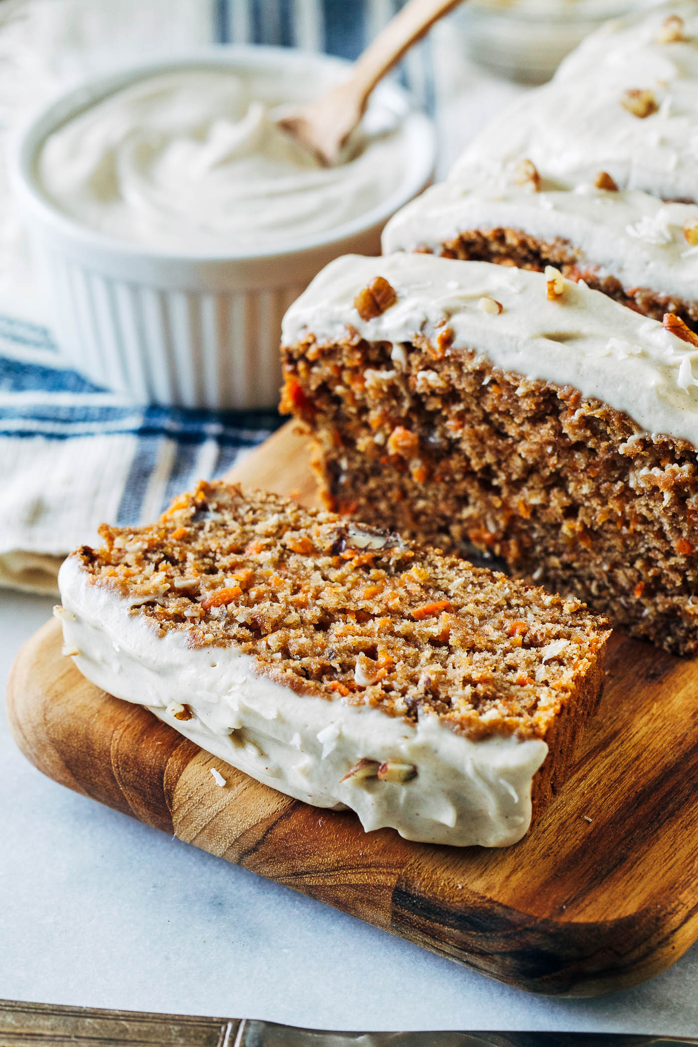 Vegan Banana Carrot Bread With Cashew Cream Cheese Icing Making