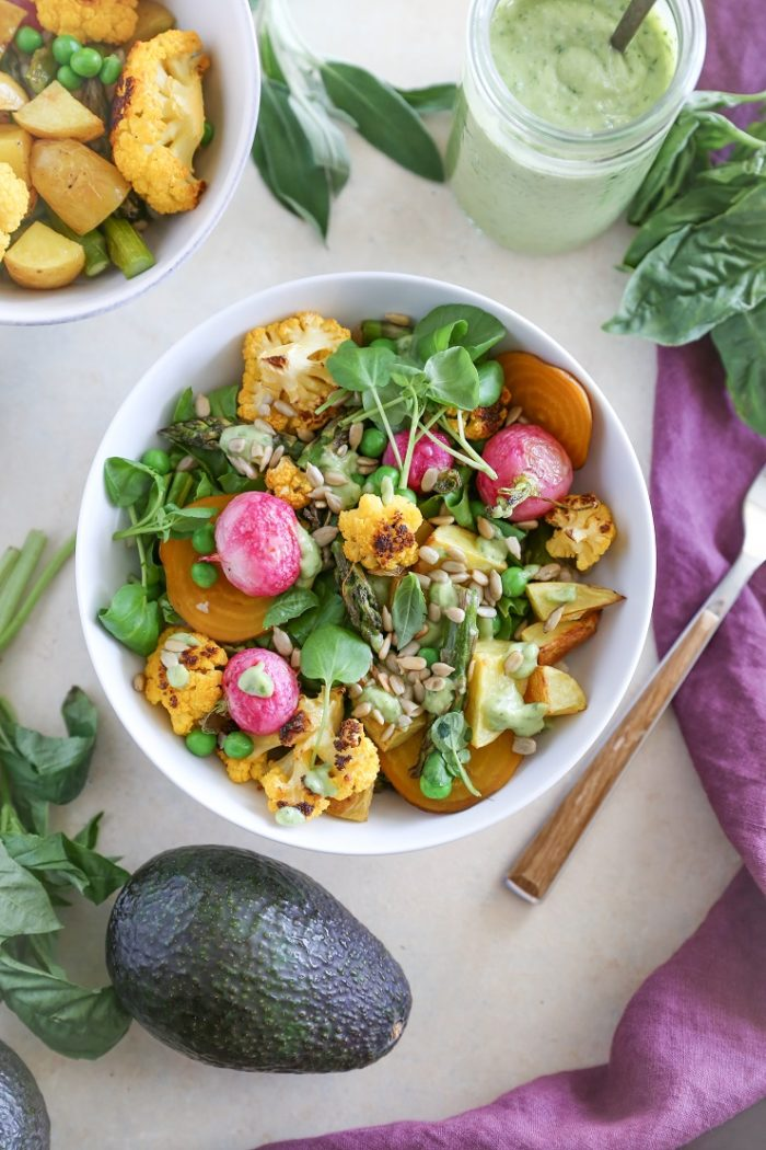 Spring Vegetable Buddha Bowls with Avocado Green Goddess Dressing from The Roasted Root