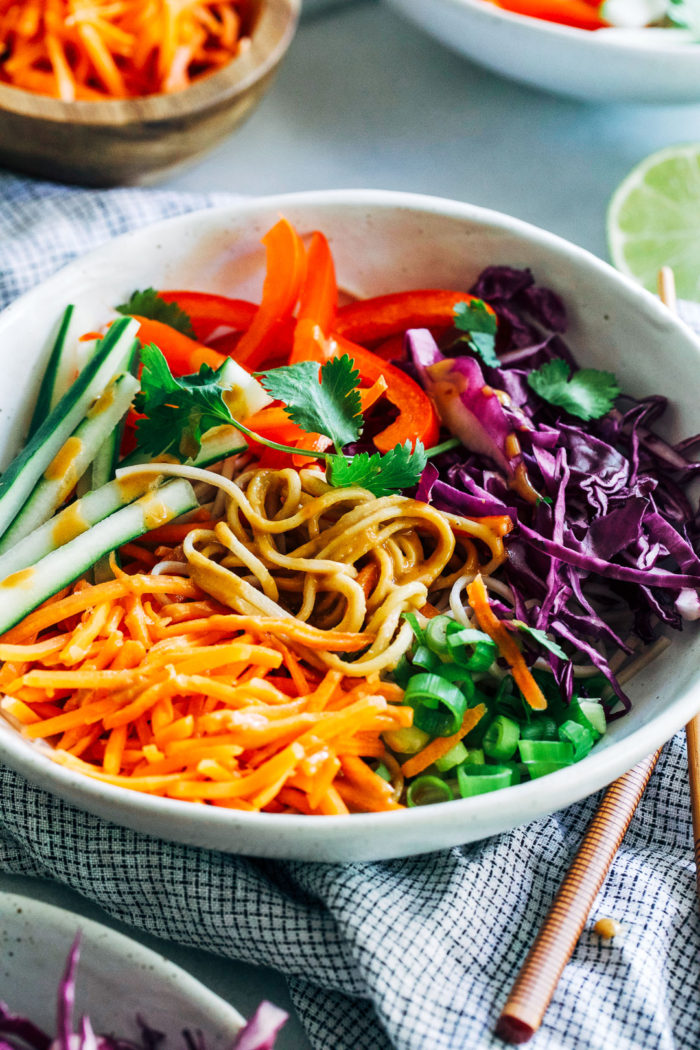 Peanut Soba Noodle Bowls- buckwheat noodles and crisp vegetables are tossed in a tangy peanut sauce for a light and satisfying meal that's packed full of Thai-inspired flavor. (vegan with gluten-free option)