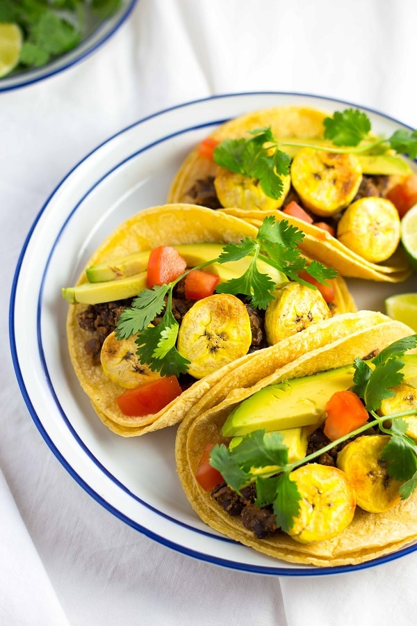 Black Bean and Baked Plantain Tacos from She Likes Food