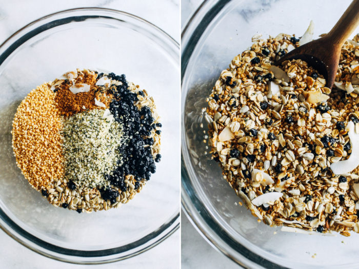 Blueberry Quinoa Muesli- packed full of protein and fiber, this quinoa muesli is sure to become your new favorite healthy breakfast! (vegan + gluten-free)