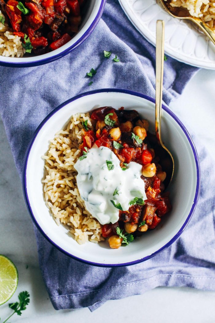 Eggplant Curry with Cucumber Lime Raita from Making Thyme for Health