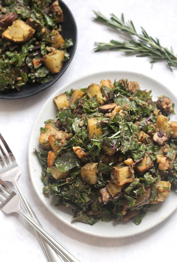 Roasted Potato, Mushroom, and Lentil Kale Salad from Hummusapien