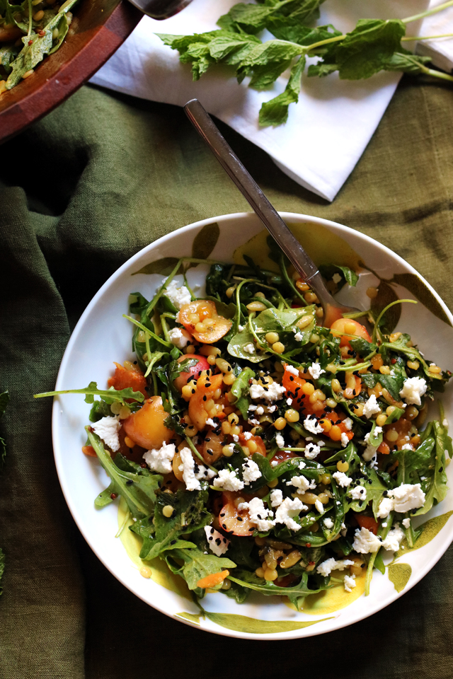 Spiced Israeli Couscous, Rainier Cherry, Apricot, and Goat Cheese Salad from Eats Well With Others