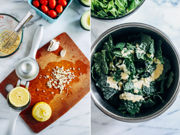 The Best Vegan Kale Caesar- a healthier caesar salad made with superfood kale and a creamy tahini-based dressing. Topped with crispy chickpeas and homemade sourdough croutons, this salad is sure to blow everyone away!