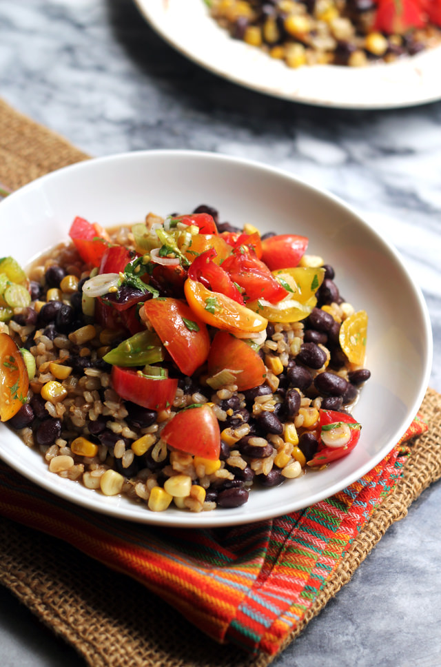 Skillet Brown Rice with Beans and Heirloom Tomato Salsa from Eats Well With Others