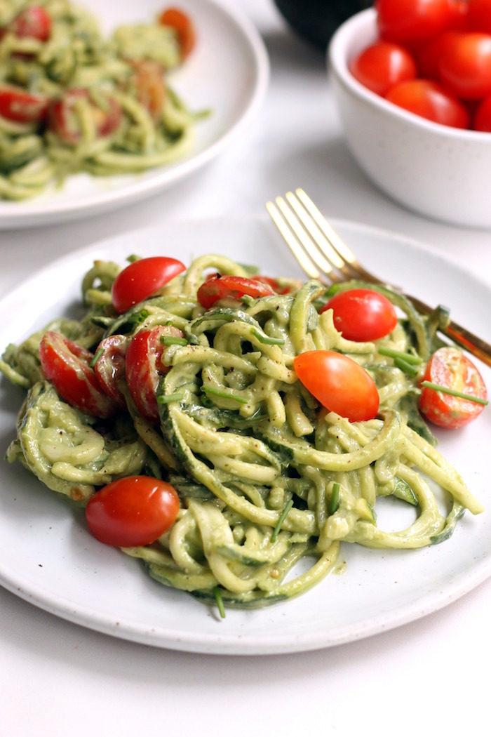 Avocado Basil Pesto Zucchini Noodlesfrom Hummusapien