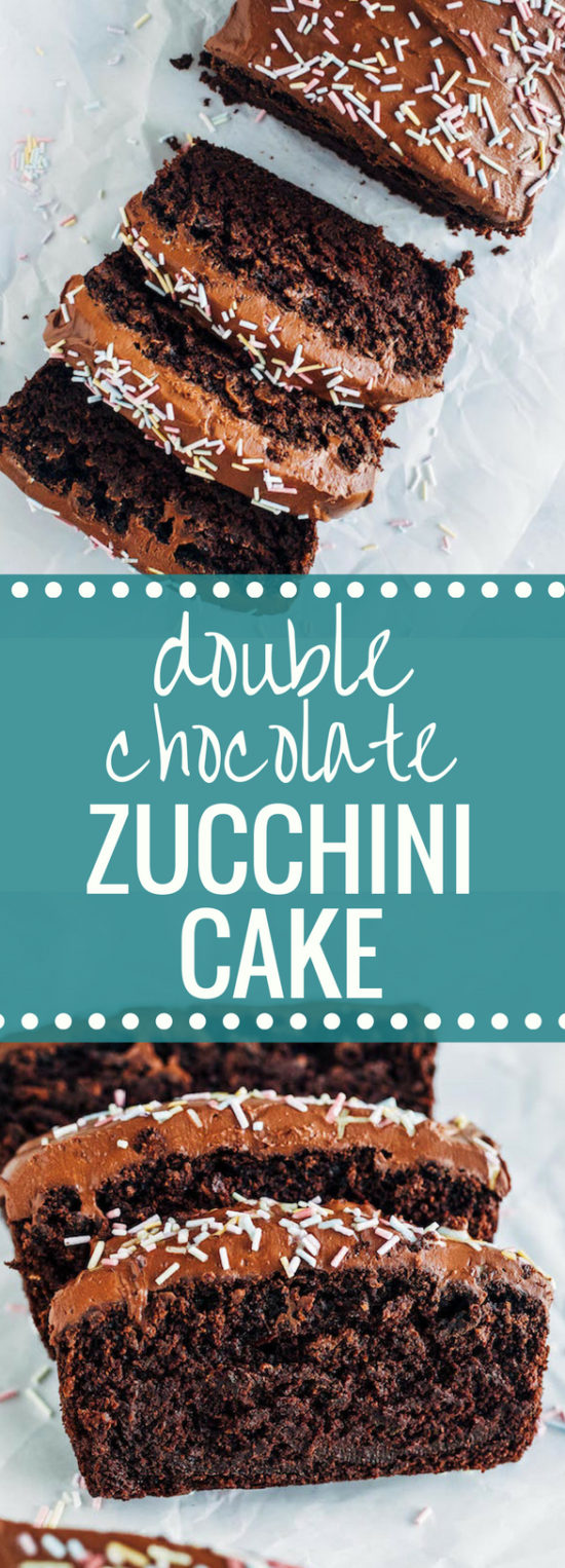 Double Chocolate Zucchini Cake- this super moist #vegan chocolate cake is #oilfree and topped with a fudgy chocolate coconut cream frosting! #plantbased