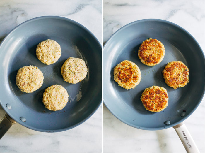 Vegan Crab Cakes with Sriracha Remoulade- flaky and full of flavor, you will be shocked at how delicious these vegan crab cakes are! (soy-free, nut-free + gluten-free option)