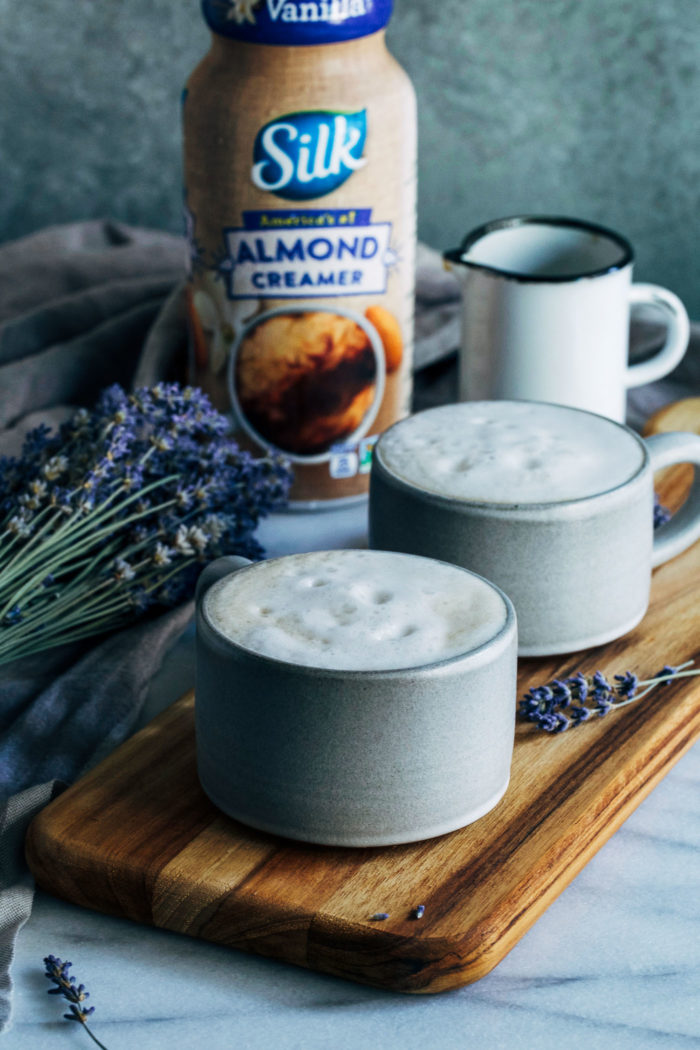 Cozy Lavender Vanilla Latte- a naturally sweetened lavender-infused latte that will calm and delight your senses. Made dairy-free with almond milk!