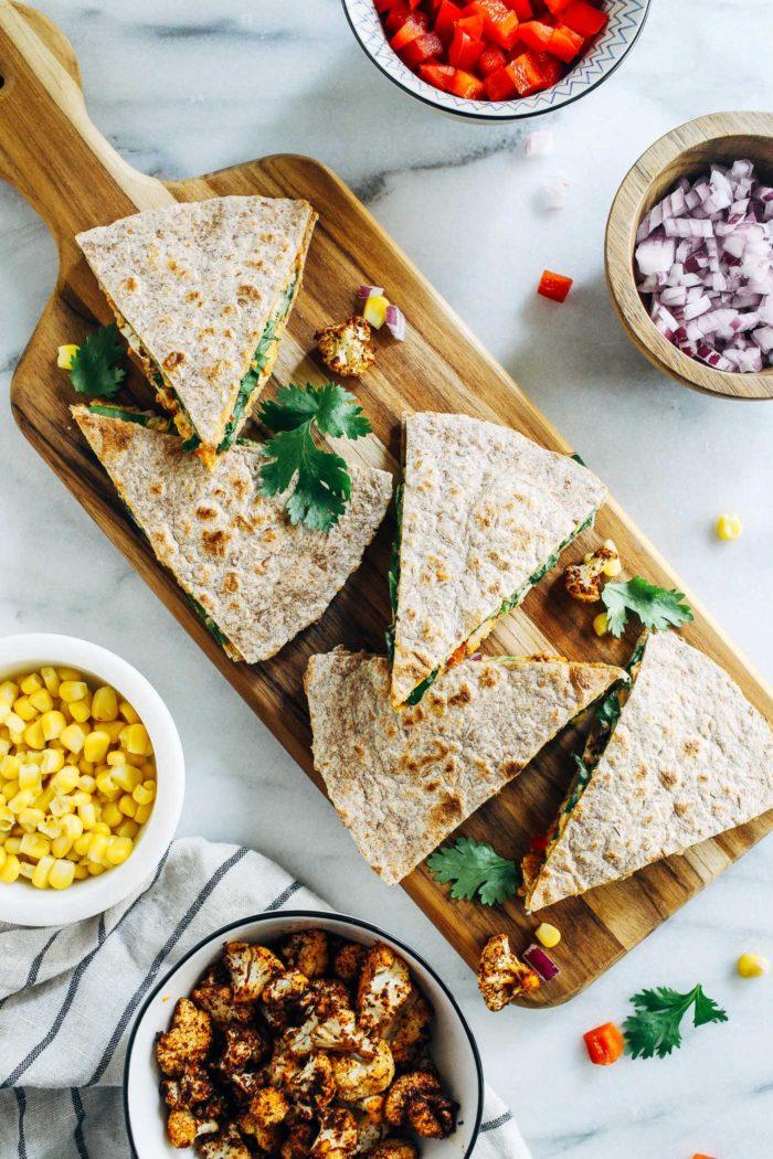 Roasted Cauliflower Hummus Quesadillasfrom Making Thyme for Health