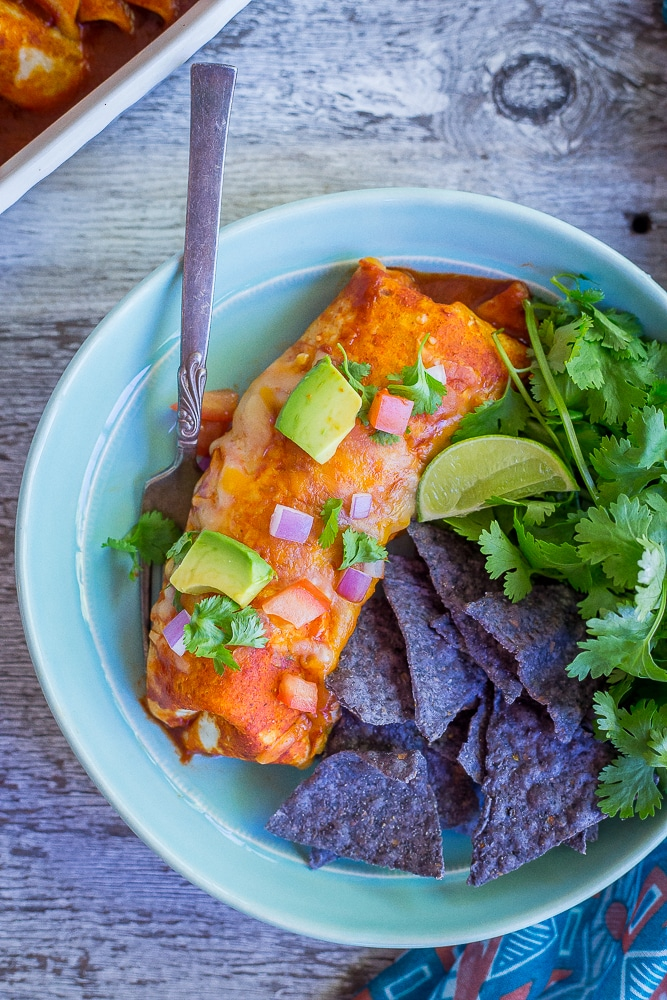 Baked Enchilada Veggie Burritosfrom She Likes Food